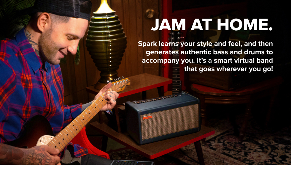 Generates authentic bass and drums to accompany you. It's a smart virtual band!