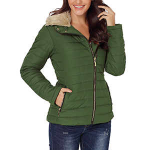 GRAPENT Women's Casual Faux Fur Lapel Quilted Jacket Zip Pocket Warm Puffer Coat