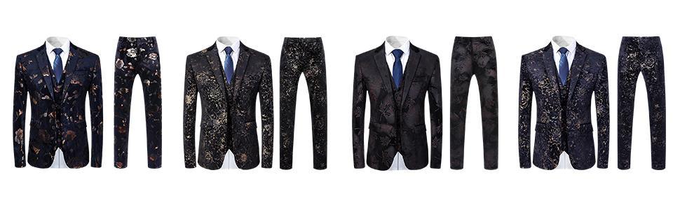 4 different floral patterns3 piece dress suits slim blazer jacket vest pants