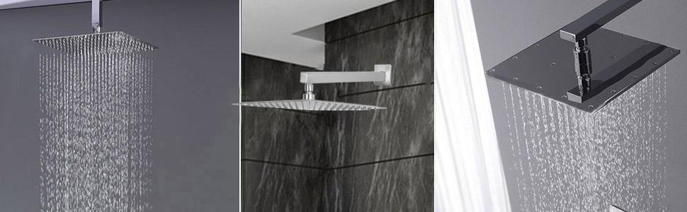 large square shower head high pressure led rain lights rainfall heads light waterfall 12 inch