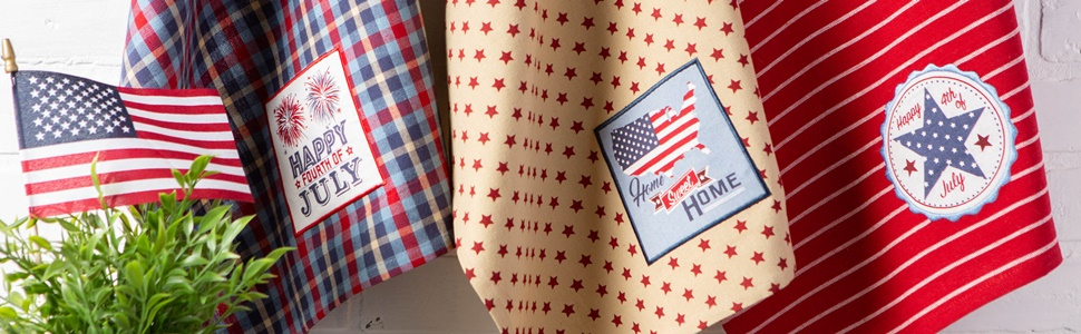DII 4th of July-themed dishtowels embroidered with patriotic colors, designs, and text.