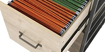 2 Drawers Wood File Cabinet with Metal Frame