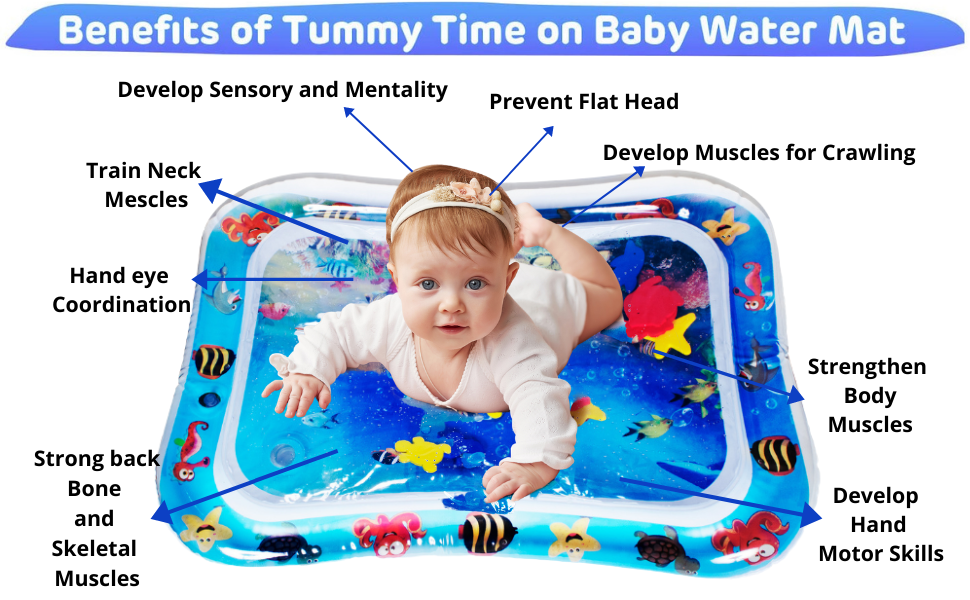Benefit of tummy time on baby water mat