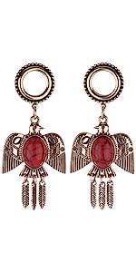 Rose Gold Surgical Steel Eagle Dangle Ear Gauges Piercing Flesh Tunnels