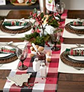 Red and Black Christmas themed buffalo check tablescape