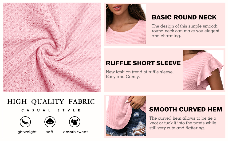 IWOLLENCE Women's Waffle Knit Shirt Casual Ruffle Short Slevess Top Round Neck Summer Blouse