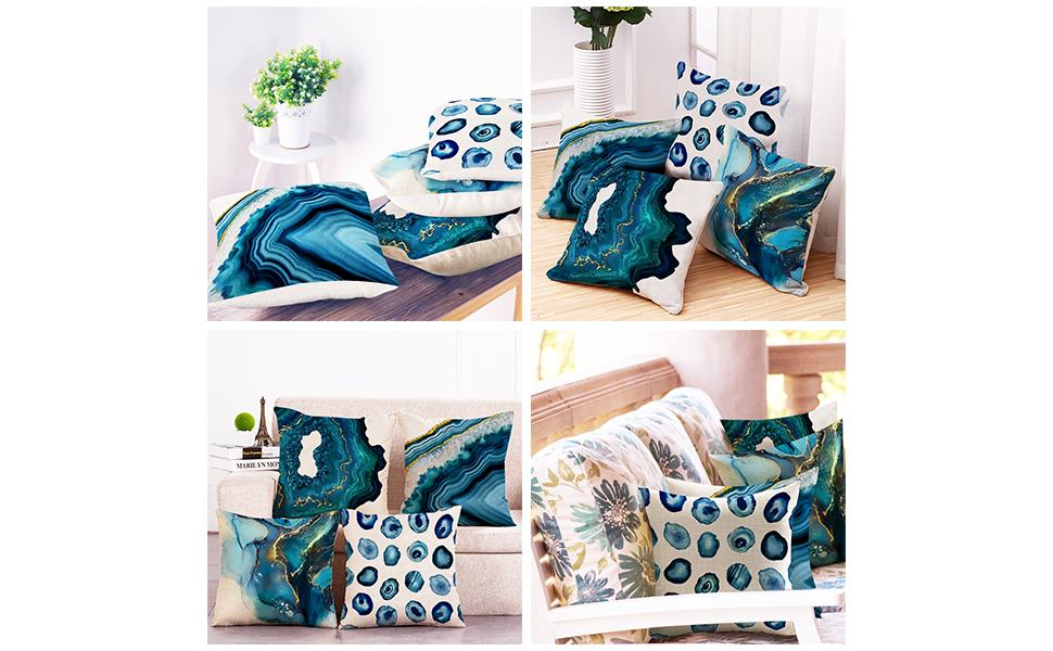 turquoise pillow covers 18x18