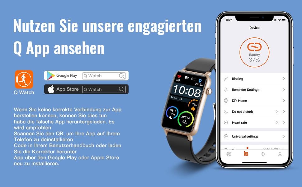 Smartwatch für iOS und Android,Stoppuhr für Damen Herren,Schrittzähler,Schlafmonitor,Musiksteuerung
