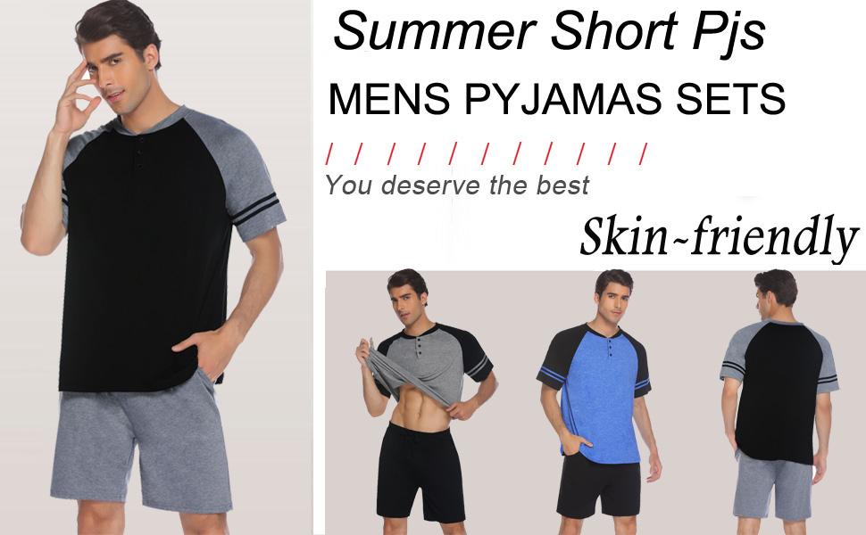 Pinspark Mens Pajama Shorts Set