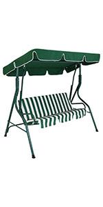 Sunnydaze 3-Person Striped Seat Canopy Patio Swing - Green
