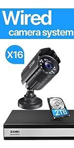 16 channel Surveillance DVR + 12 bullet security cameras + 2TB hard drive