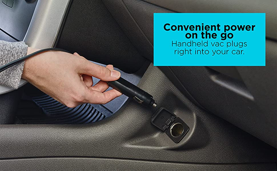 Convenient power on the go - handheld vac plugs right into your car