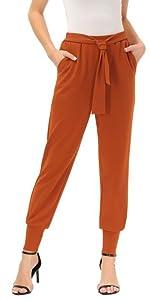 Pantaloni Donna a Sigaretta Caviglia a Vita Alta con Cintura Decorado