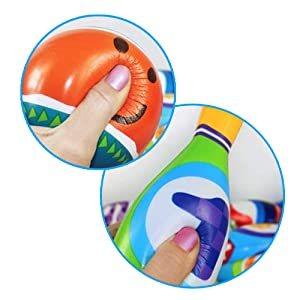 This bowling set made of soft PU material