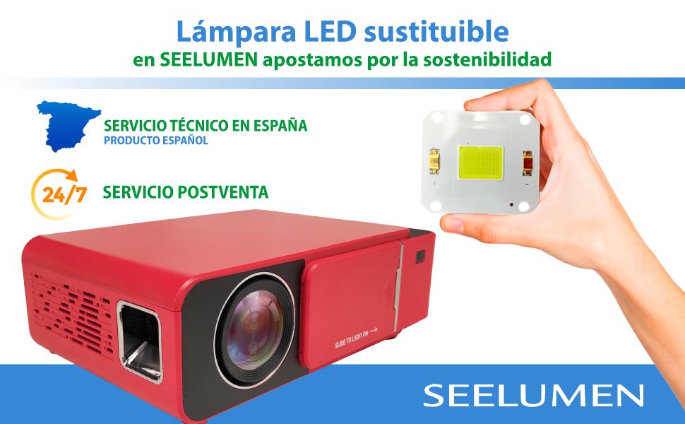 proyector led lampara intercambiable, proyector de led, proyector cine en casa
