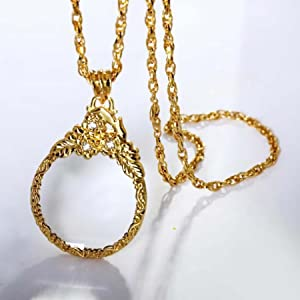 Mini Necklace Magnifier Magnifying Glass with Long Metal Chain