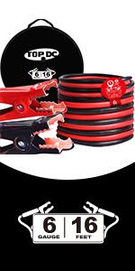 TOPDC 6 gauge 16 feet jumper cables