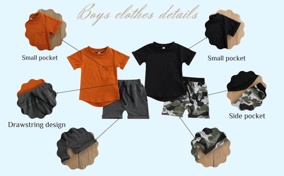 Toddler boys summer clothes set