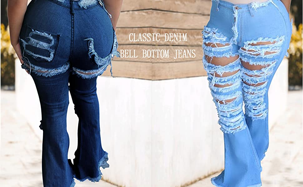 Plus Size Bell Bottom Jeans for women