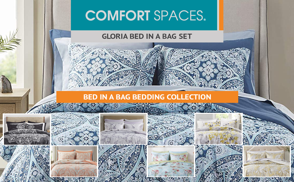 Gloria Blue Bed In A Bag Bedding Collection