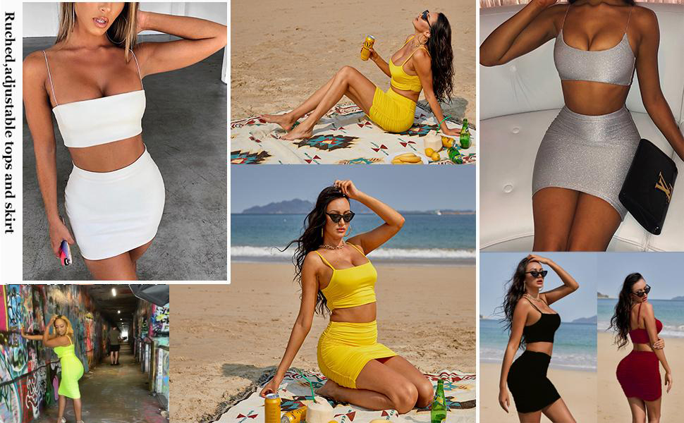 Women's Summer 2 Piece Outfits Cami Crop Top Bodycon Skirt Mini Club Dress