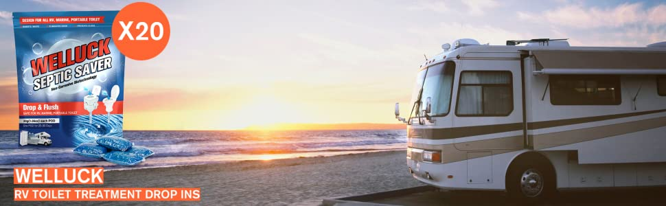 RV Toilet Treatment Drop-Ins, Formaldehyde Free, Breaks Down Waste And Tissue, Septic Tank Safe