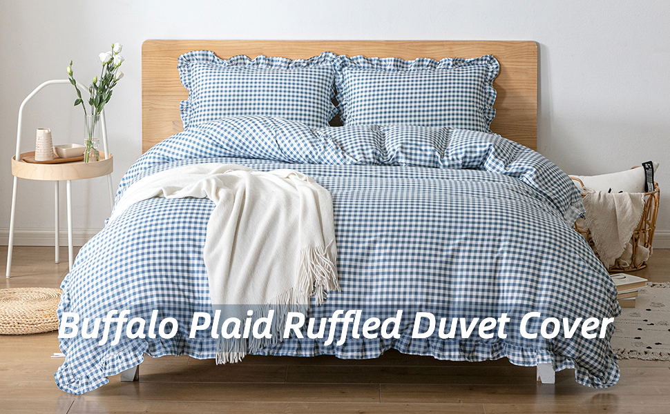 buffalo plaid ruffled duvet cover blue and white pattern soft and lightweight duvet cover queen size