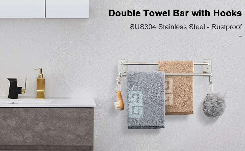 double towel bar with hooks