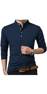 VANVENE Mens Casual Regular Fit Long Sleeve Plain Polo T-Shirts - S to 2XL