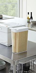 山崎実業 1合分別 冷蔵庫用米びつ タワー ホワイト 3760