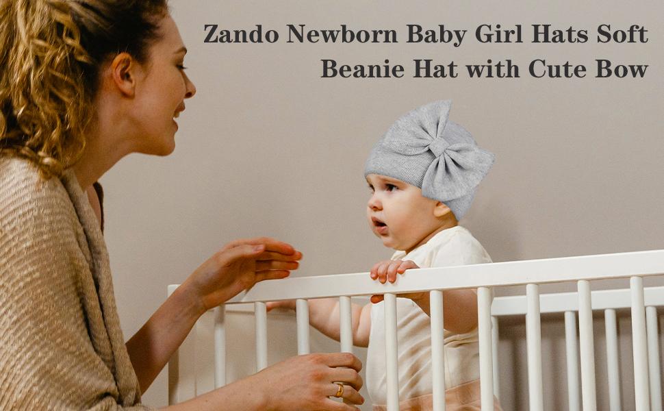 Zando soft beanie hat with cute bow