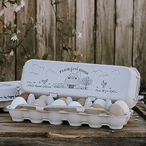 barn flat top vintage design egg cartons
