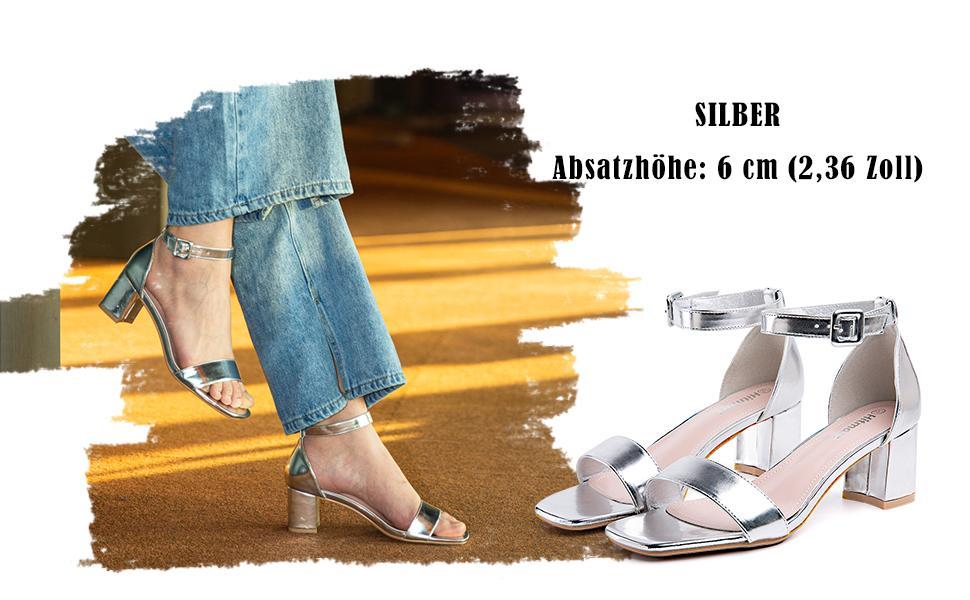 Sandalen Damen mit Absatz 6CM Sandaletten Plateau Sommer Knöchelriemen