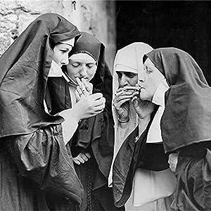 Black and White Smoking Nuns Posters