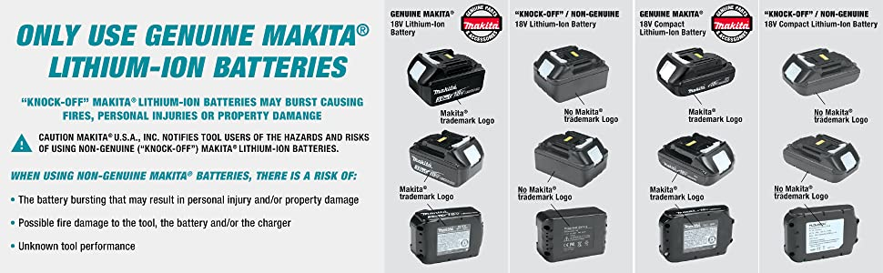 only use genuine makita lithium-ion battereis knock-off cause damage and risk