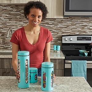 flour sugar canisters, blue canister set, sugar container, sugar jar, flour and sugar containers