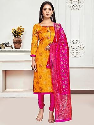 Rajnandini Women's Banarasi Silk Jaccquard Woven Unstitched Salwar Suit Material