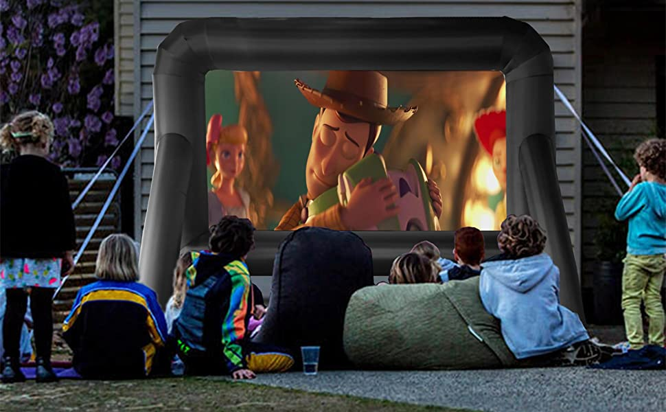 14FT screen, suitable for indoor use and also ideal for backyard movie theater