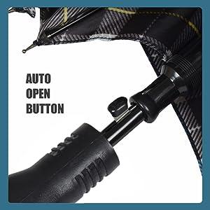 EUME Aviator 23 Inch Straight Auto Open Umbrella (Black)