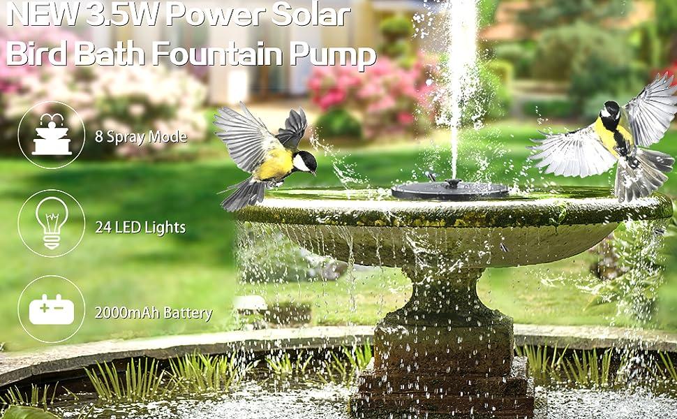 solar power fountain bird bath