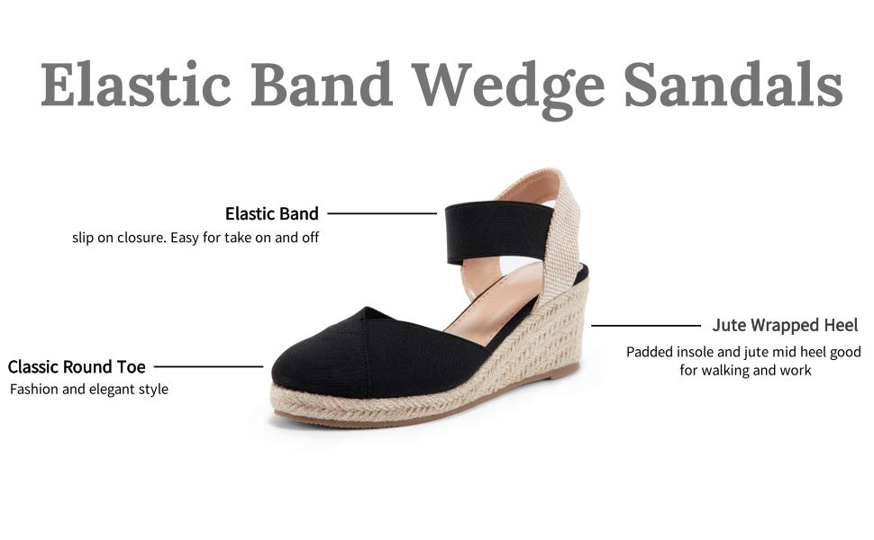 Elastic band wedge sandals