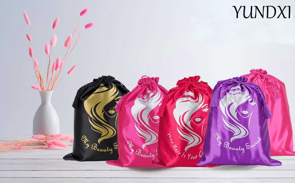 Yundxi Multi colors satin wig bags to choose  with different letters design