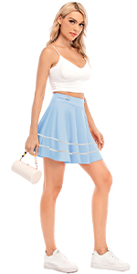 black skater mini skirt for women short tennis skirt flare skirt pleated mini skirt versatile skirt