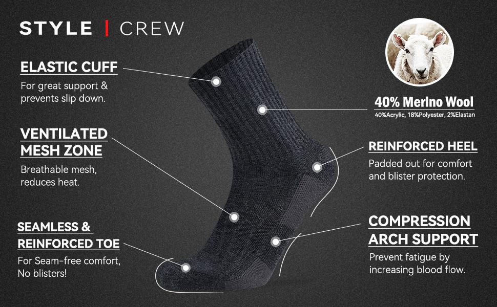 crew wool hiking socks
