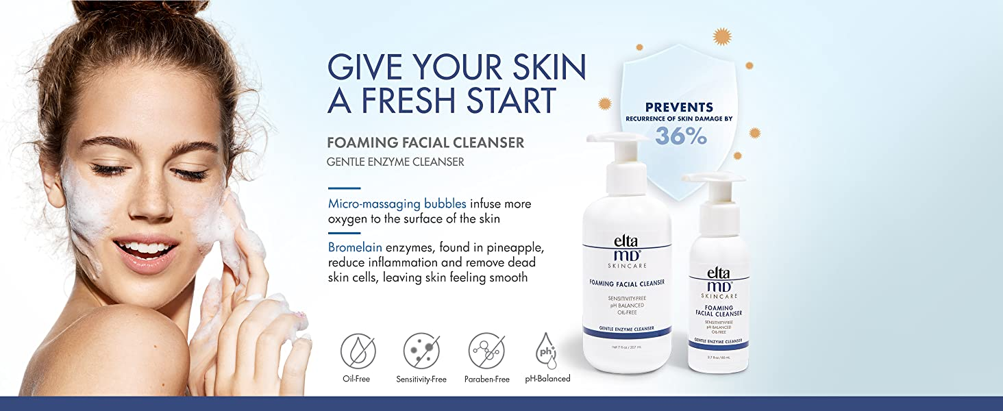 EltaMD Skincare Foaming Facial Cleanser, Oil-Free, pH Balanced,  All Skin Types, Cleanses Makeup