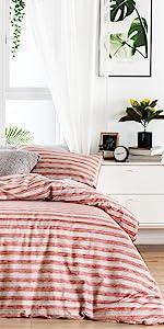 red striped duvet cover set