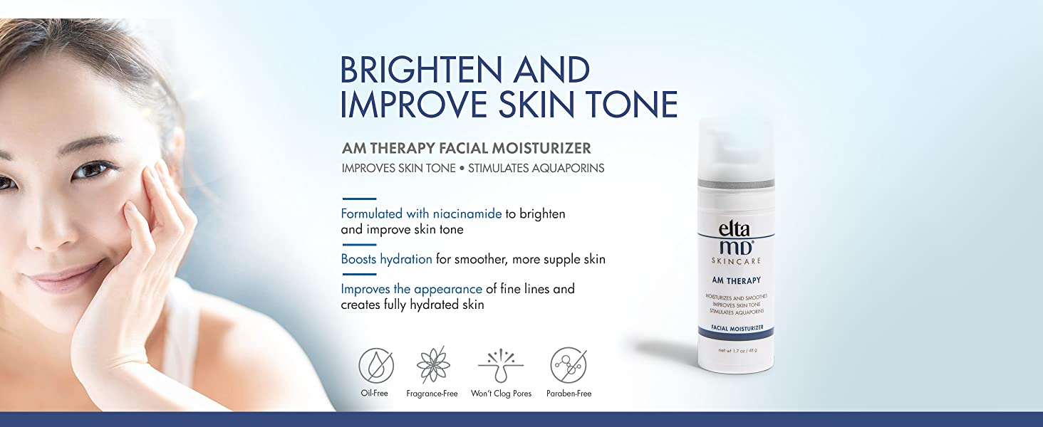 EltaMD AM Therapy Moisturizes and Smoothes, Improves Skin Tone, for Normal to Oily Skin