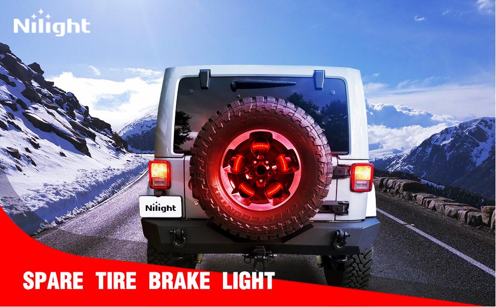 spare tire brake light, 3rd third brake light for jeep, JK high mount brake light, tire light