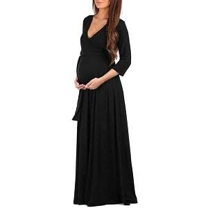 Mother Bee Maternity Faux Wrap Maternity Dress with Adjustable Belt for Baby Shower Or Casual Wear