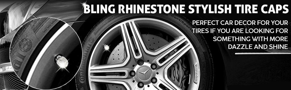EcoNour Bling Rhinestone Stylish Tire Caps